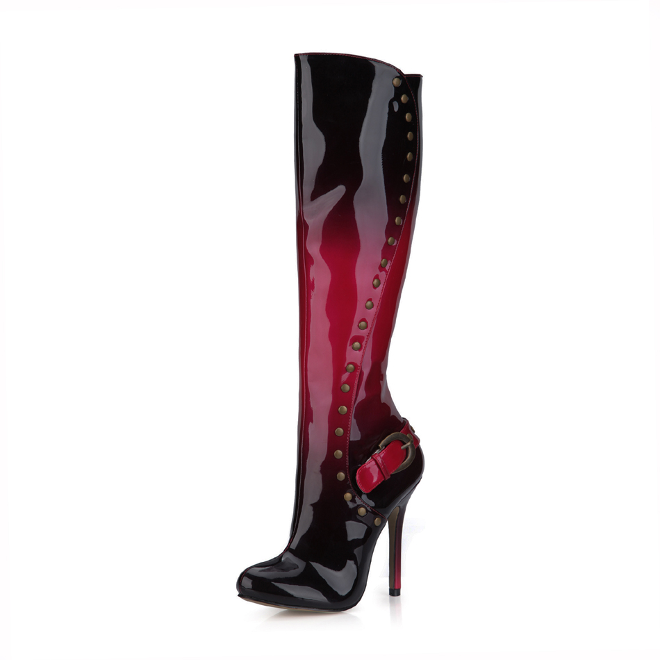 2016 Winter Red Black Sexy Party Shoes Women Stiletto High Heels Rivet Buckle Ladies Knee-High Boots Zapatos Mujer 0640cbt-m5