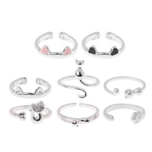 Silver Plated CZ Crystal Cat Ear 3D Animal Wrap Rings For Women Adjustable(China)