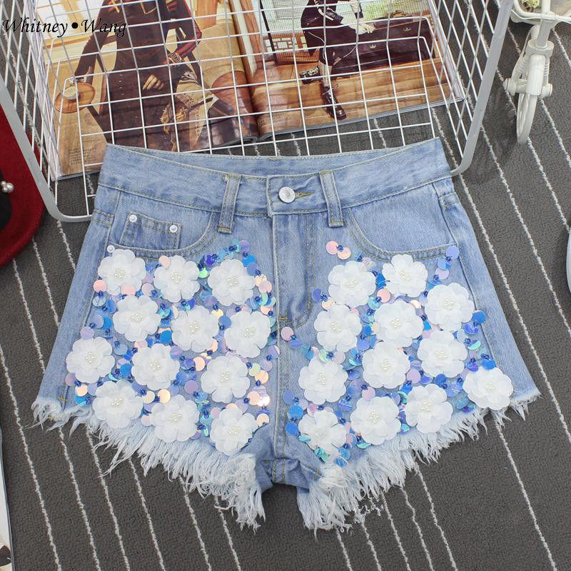 WHITNEY WANG Newest 2017 Summer Fashion Streetwear Flowers Sequins Shorts Jeans Women Denim Pants Plus Size jeans femme