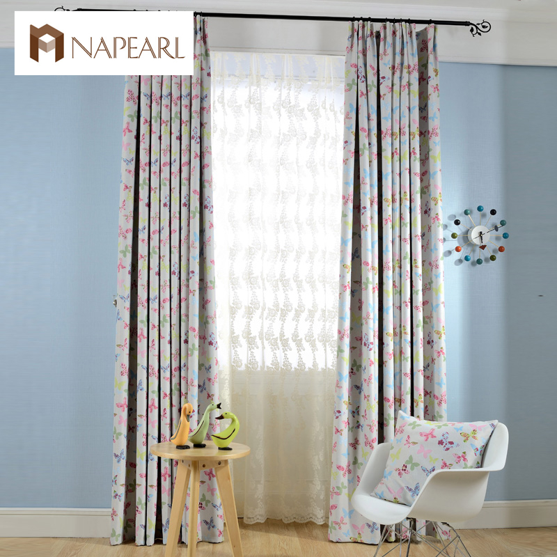 Butterfly cartoon blackout curtains child bedroom kid girl for Fabrics for children s rooms