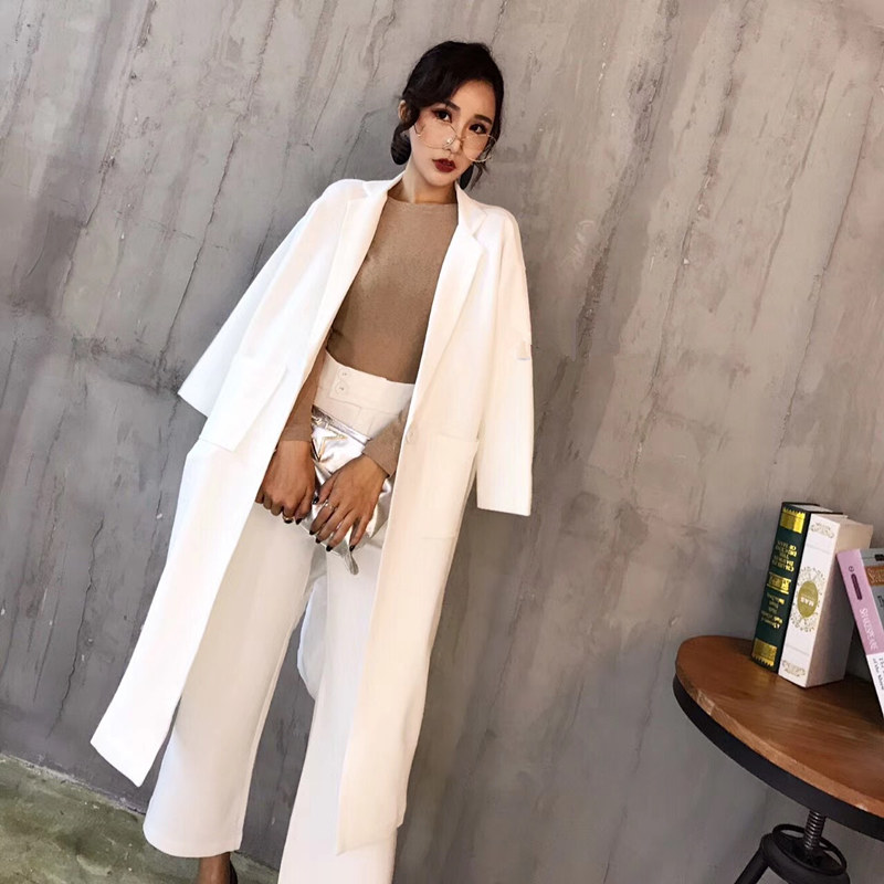 Two Piece Set Long Sleeve OL Professional Temperament Overalls Female Fashion Temperament Slim Long Suit Suit Elegant Dress New