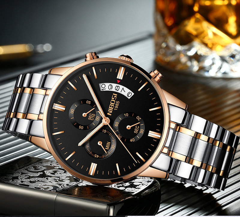 2018 NIBOSI Gold Quartz Watch Top Brand Luxury Men Watches Fashion Man Wristwatches Stainless Steel Relogio Masculino Saatler    (15)