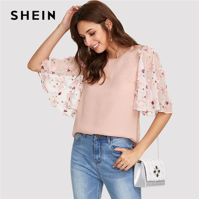 7bc2bca66001b6 SHEIN Pink Flower Applique Mesh Sleeve Top Women Round Neck Butterfly  Sleeve Button Blouse 2018 Elegant Half Sleeve Blouse