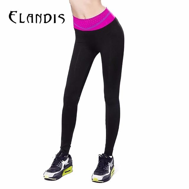 78f4a2f3b6140 FLANDIS fuschia Sport Pants Women Full Length Yoga Leggings Running Quick  Dry Jogging Gym Waist pattern