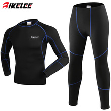 2017 Men Outdoor Sports Thermal Underwear Set Polartec Winter Warm Long Johns Men Thermo Underwear Top Pants Cycling Base Layers