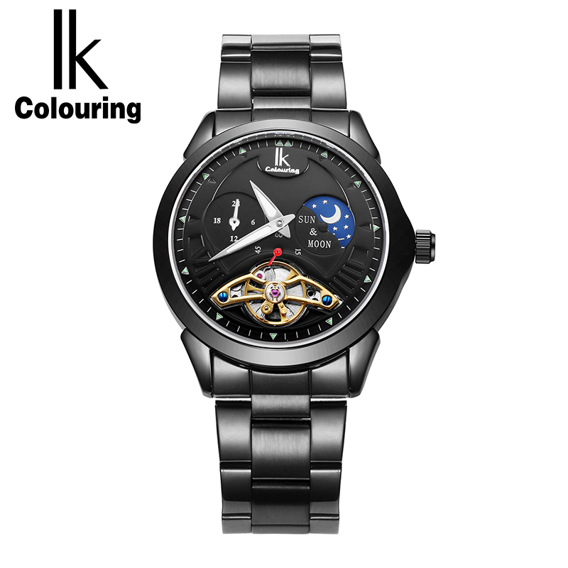 IK Colouring 2017 New Luxury Automatic Watch Women Full Steel Gold Wristwatch Skeleton  Mechanical Watches Relogio Feminino XFCS k colouring women ladies automatic self wind watch hollow skeleton mechanical wristwatch for gift box