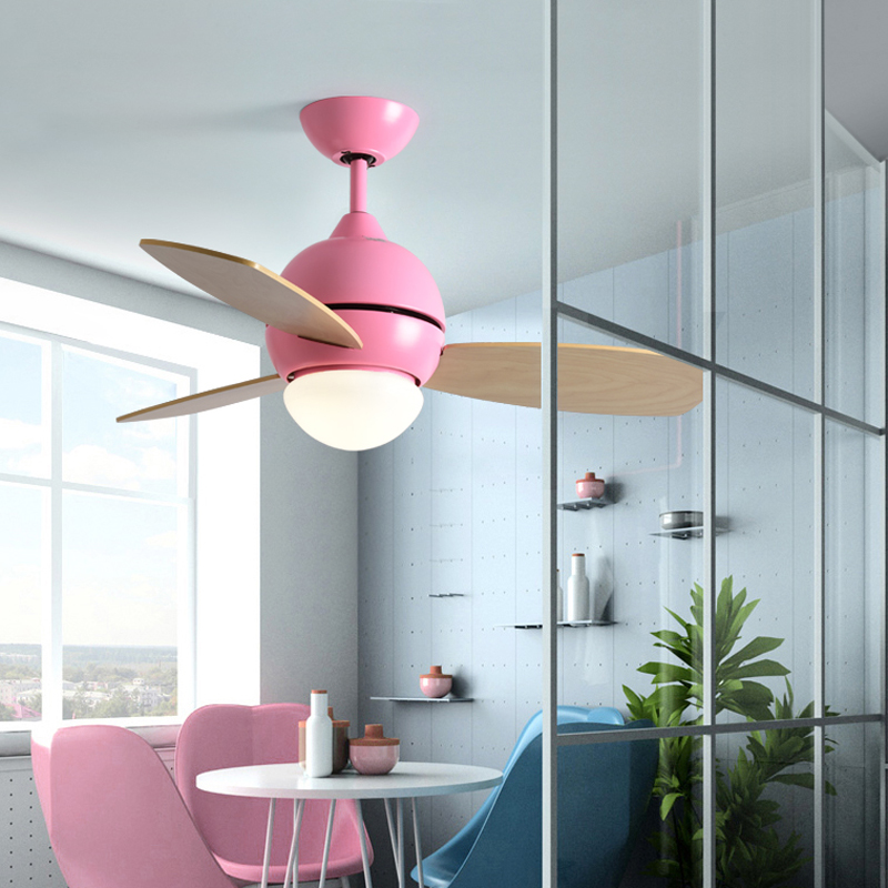Modern Simple Colors Ceiling Fan Lamp Macaron Kids Room Living Room Led Iron Art Fan Lamp Colorful Fan Leaves Deco Pendant Lamp Ceiling Fans