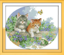 Naughty Kittens Cat Animal DMC Cross Stitch Kits 11CT Accurate Printed Embroidery DIY Handmade Needle Work Home Decor Set Art