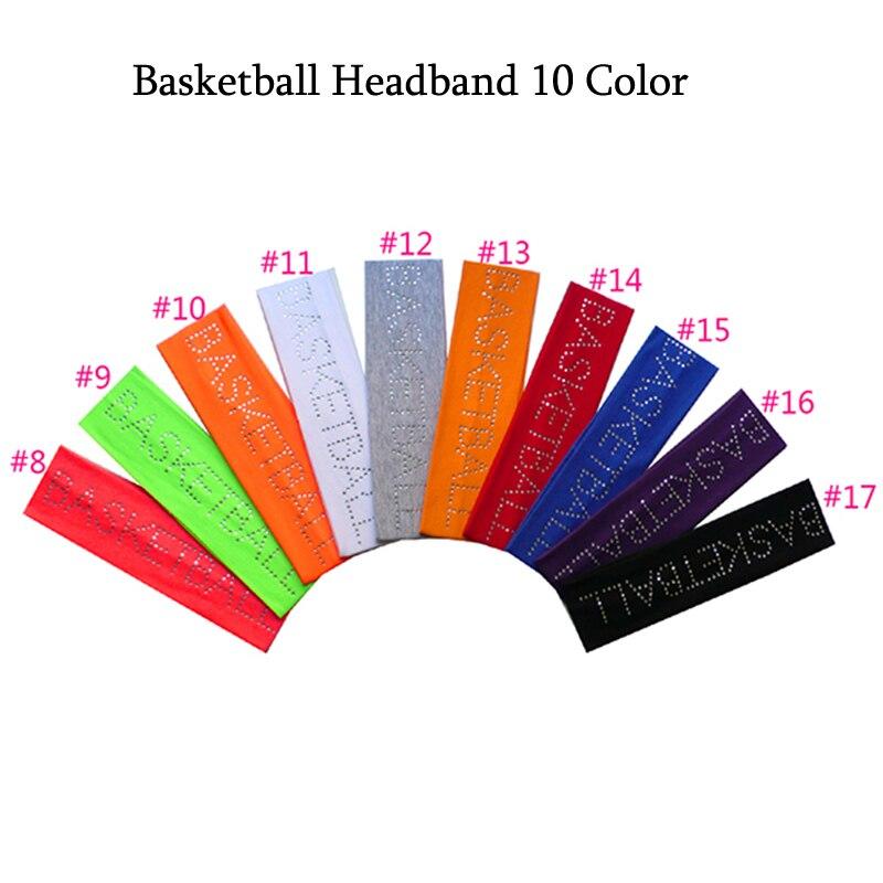 2018 Rhinestone basketball 2 Cotton Stretch Headbands Crystal Cheerleading Elastic Sweat HairBand Hair Accessor free DHL