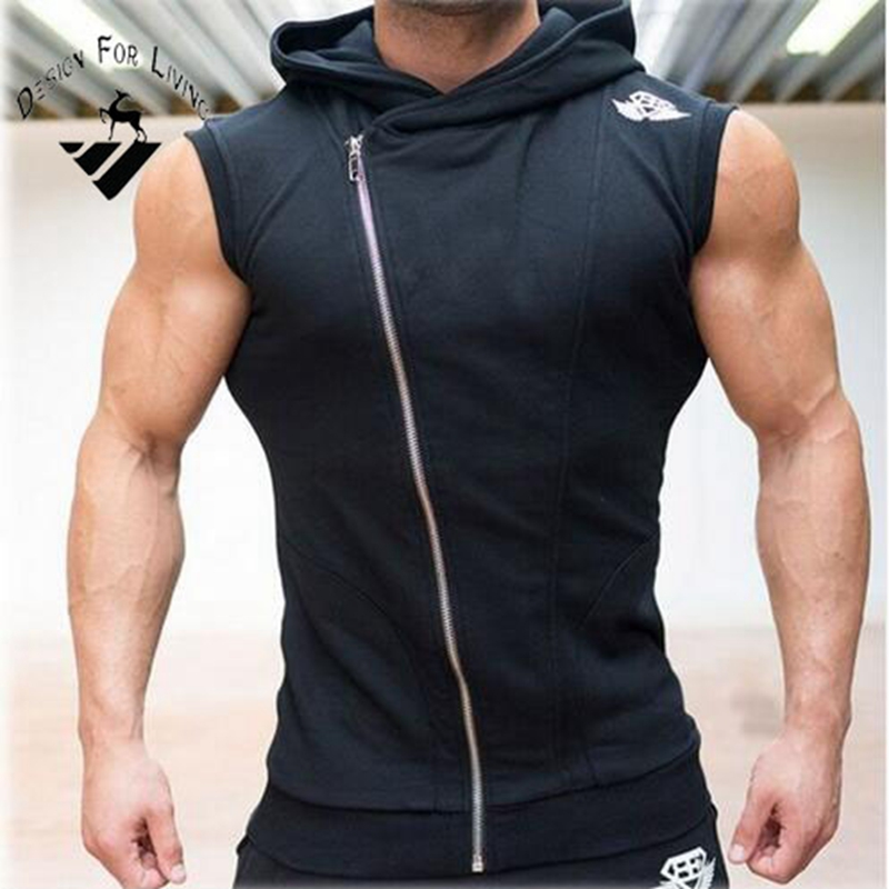 Design for living Brand Men's sleeveless Hoodies fitness zipper fashion jackets Sweatshirts Bodybuilding sportswear topcoat