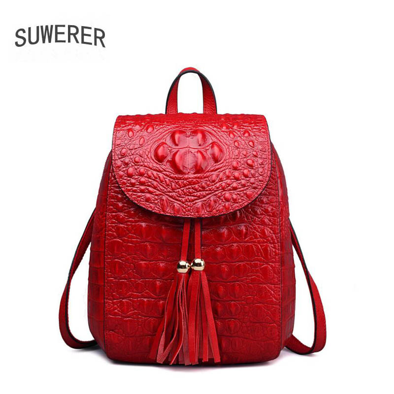 SUWERER new Genuine Leather backpack luxury backpack women bags designer bags women backpack fashion Crocodile pattern fashion style women crocodile pattern doctor women backpack famous bags women s pu leather rucksack bag z762