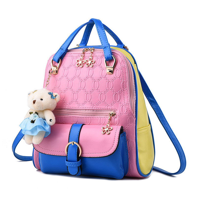 Fashion Women Patchwork Backpack with bear Mochila School Bags For Teenagers Girls Top handle Backpacks Travel