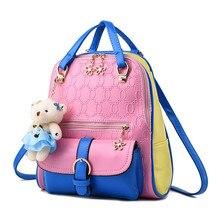 Модные женские туфли в стиле пэчворк рюкзак с медведем Mochila Школьные сумки для подростков Обувь для девочек топ-ручка Рюкзаки Дорожные сумки HY-360
