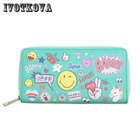 IVOTKOVA Fashion Women Long Wallet New Preppy Style Girl Clutch Wallets Gift For Daughter Pu Leather