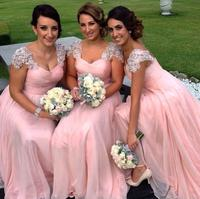 Hot Sale 2015 Cap Sleeve Beadings Chiffon Long Pink Bridesmaid Dresses Party Gowns Custom Size 2 4 6 8 10 12 14 16 18++ B76