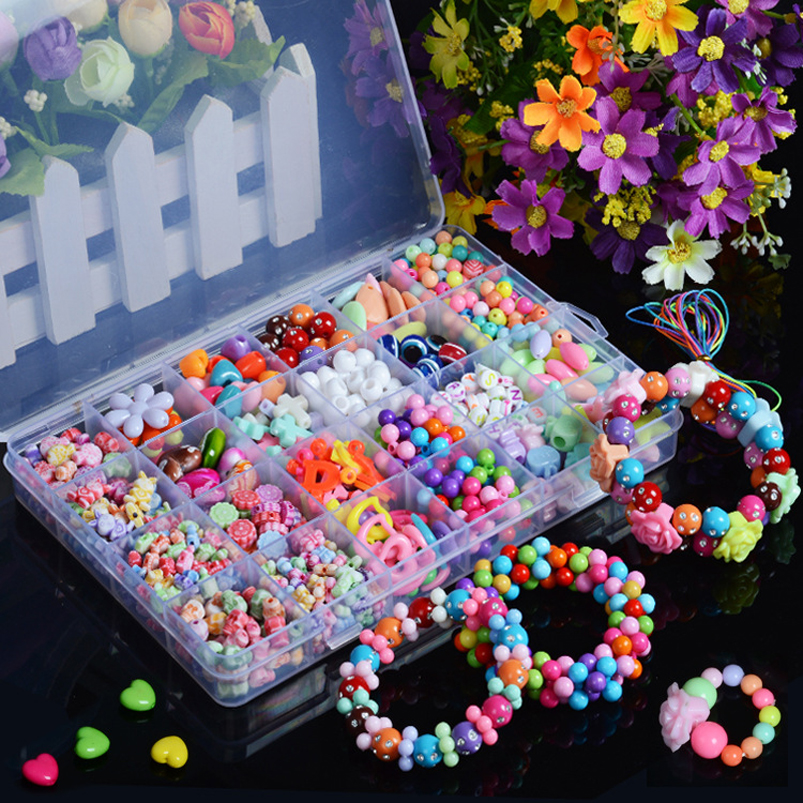 Abbyfrank Beads Diy Toy String Beaded Early Educational Handmade Jewelry Chain Necklaces Bracelet Teaching Puzzle Toy For Girls