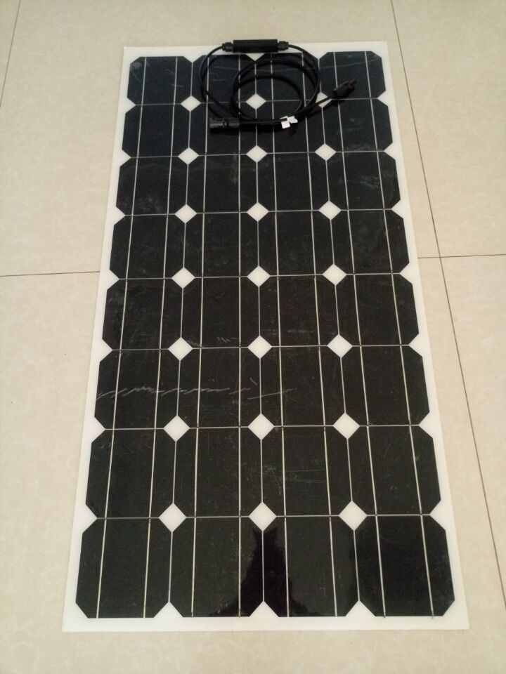The latest invention from self adhesive semi flexible solar panel 100w power generation the back with