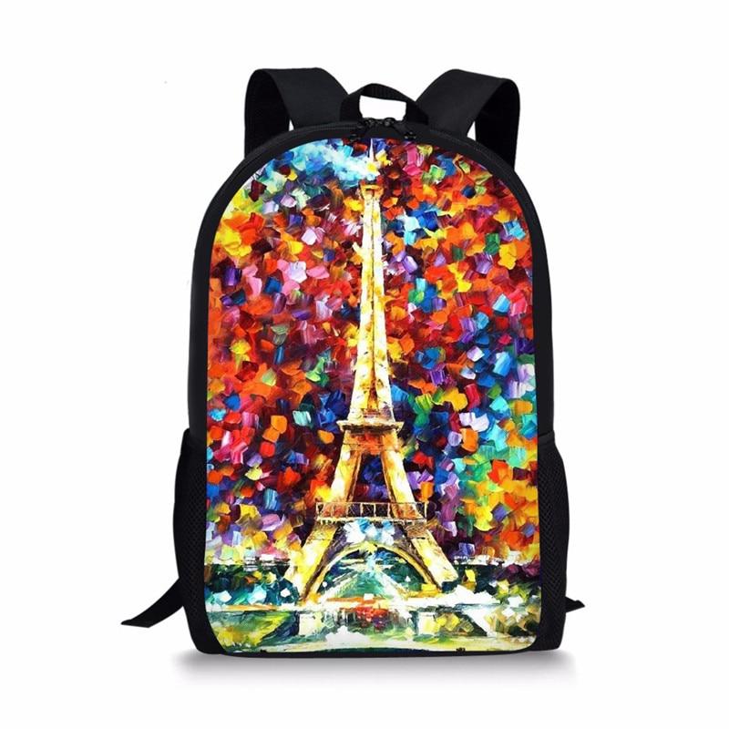 FORUDESIGNS Eiffel-tornin painatus Teini-ikäisten tyttöjen reppu, lasten opiskelijakirjan takapussi koululle, isot lapset pojat söpö reppu