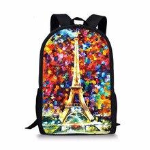 FORUDESIGNS Eiffel Tower Printing Teenage Girls Backpack,Children Student Book Back Bag for School,Big Kids Boys Cute Backpacks