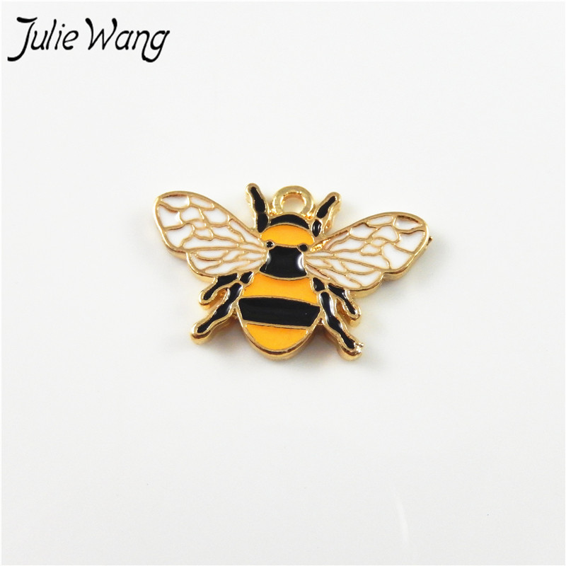 Julie Wang 8pcs Colorful Cute Honey Bee Shape Enamel Alloy Charms Handmade Women Bracelet Anklet Bangle Necklace Jewelry Finding