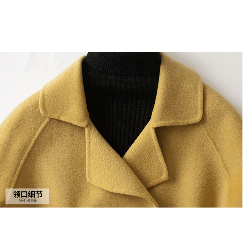 Manteau Cachemire D'hiver De 2018 Pur Couleur Veste Solide Pardessus Femmes Long Yellow Élégant Trench Laine sdCrQth