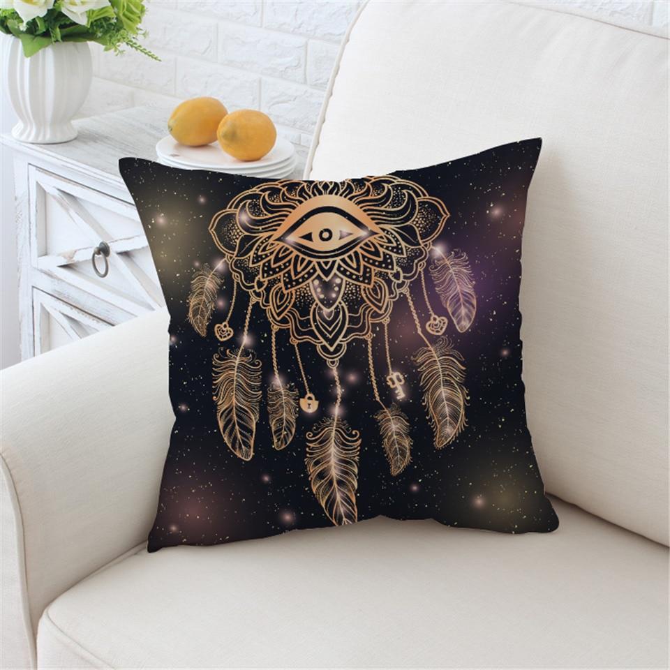 BeddingOutlet Eye Dreamcatcher Cushion Cover Golden Pillowcase Sofa Throw Cover Galaxy 45x45cm Bohemian Decorative Pillow Cover