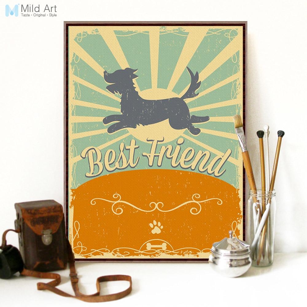 Us 34 46 Offnowoczesne Vintage Retro Zwierząt Pies Cytaty Przyjaźni A4 Reprodukcja Plakat Na ścianę Obraz Domu Na Płótnie Malarstwo Wystrój Pokoju