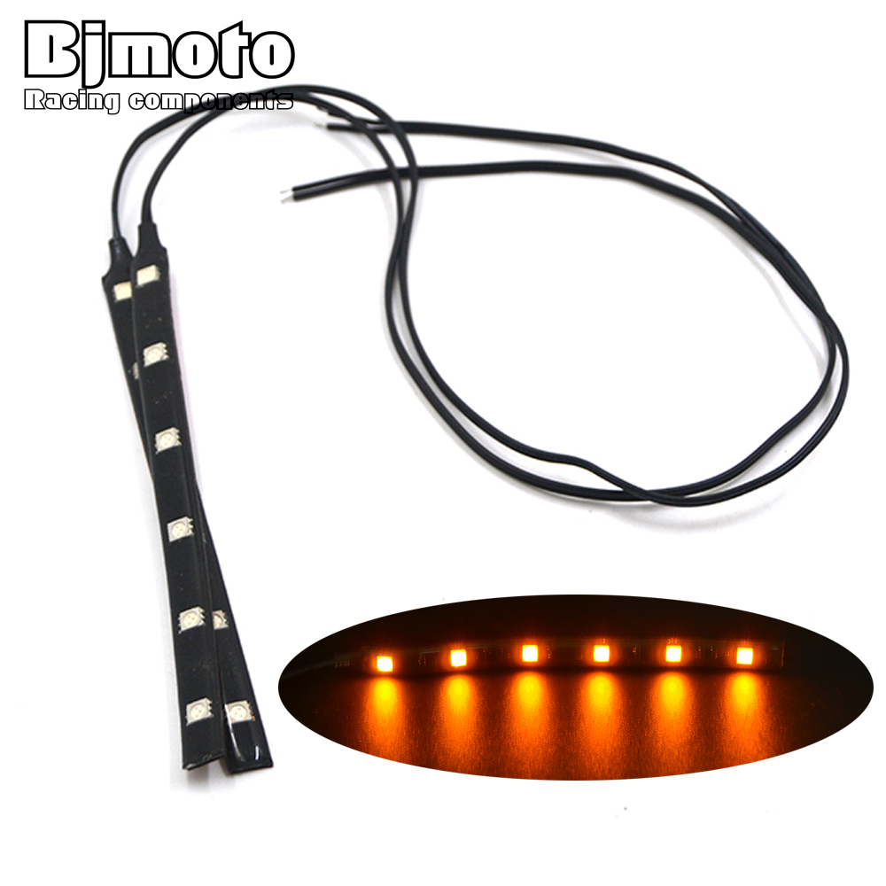BJMOTO 12V Universal Motorcycle Flasher LED Turn Signal Indicator Flexible Strip License Plate Light Integrated 5050 SMD leds
