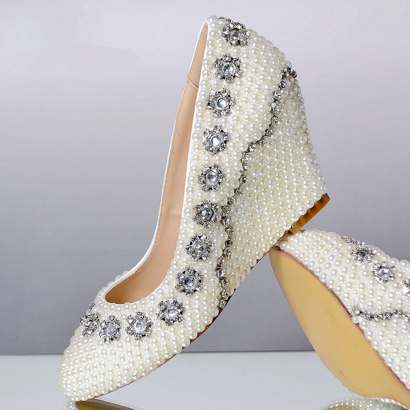 Fashion plus size genuine leather sole white pearl shoes rhinestone wedding shoes wedges bridal shoes spring handmade shoes