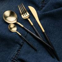 181) black and gold tea spoon/western food steak knife and fork spoon black black handle 304 stainless steel knife and fork west