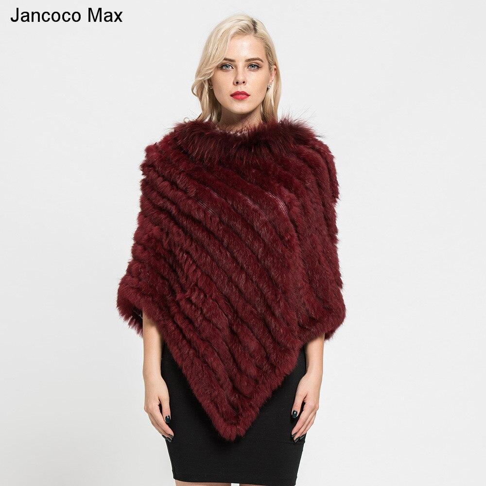 2019 Mode Jancoco Max 2019 Neue Ankunft Echt Kaninchen Pelz Gestrickte Poncho Waschbären Pelz Kragen Schals Frauen Winter Capes Pullover S7110