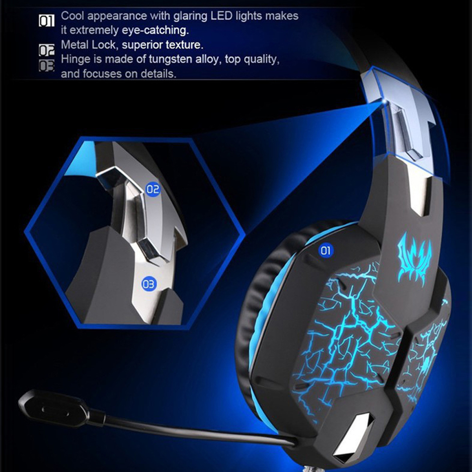 ФОТО Ecouteur EACH G1100 3.5mm Pro Gaming Headset Headphone For Pc PS4 Laptop Crack Pattern LED