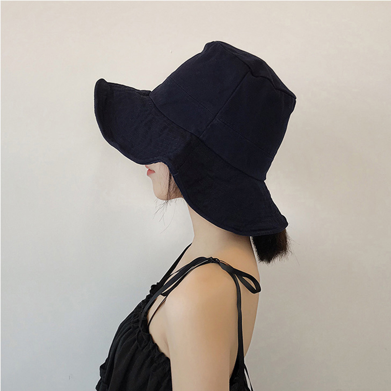New Trend Bucket Hats Black/Blue Collapsible Sunshade Hat All Seasons Men and Women Outdoor Casual Hats Drop Shipping Hat Caps