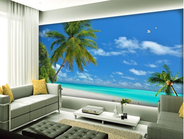 Seaside Coconut Tree Living Room TV Backdrop Bedroom 3d Photo Wallpaper  Home Decoration 3d Wallpaper Mural
