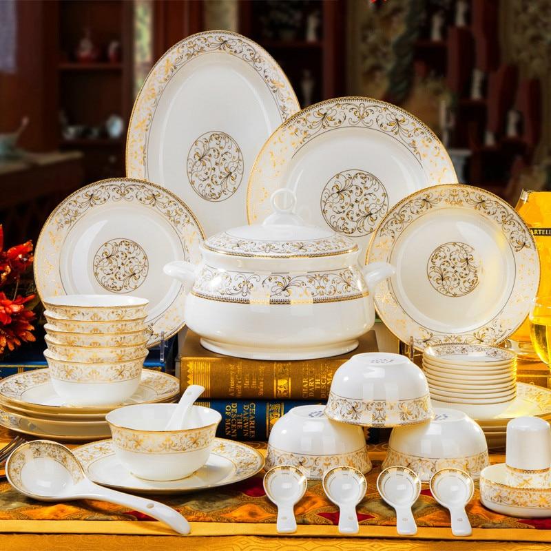 Assiette en céramique en os chinois | Ensemble de vaisselle, maison Jingdezhen os européen bol en porcelaine assiette en céramique