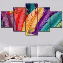 Top-Rated Canvas Print Pictures Wall Artworks 5 Piece Colourful Feather HD Painting Home Decorative Modular Posters Framework top posters холст весь лондон iii top posters 50х100х2см l 1013h