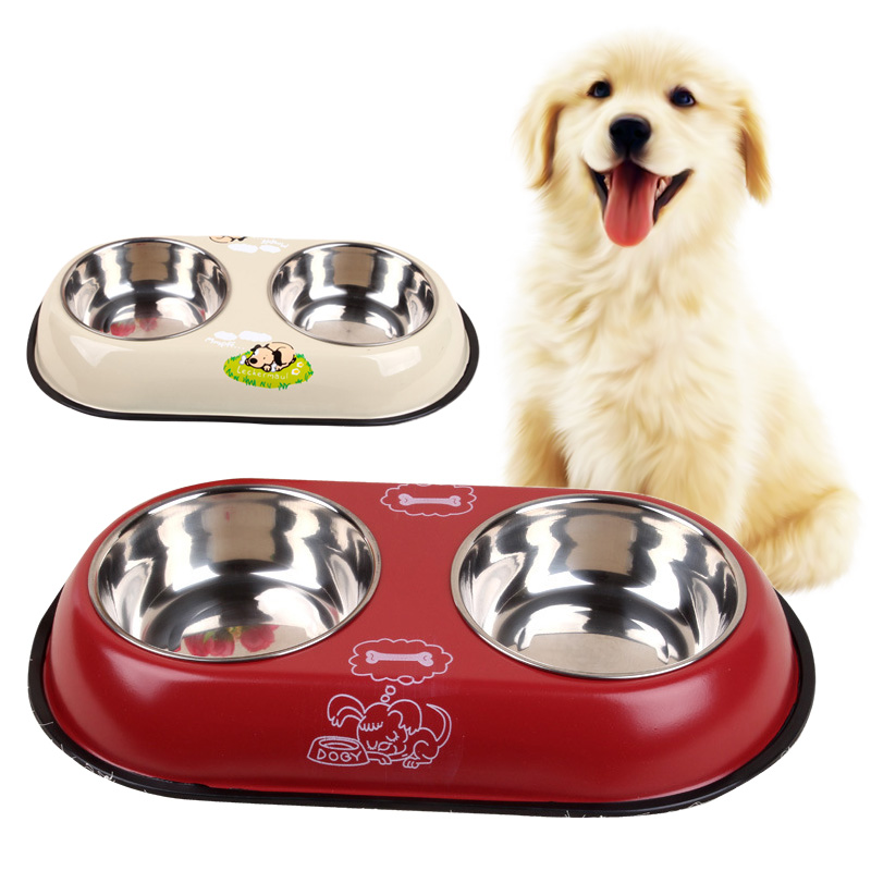 2 i 1 Pet Dog Food Bowl Puppy Travel Feeder Vannskål Rustfritt Stål Stor Hund Drikke Bowl Bottle Pet Products 25S2