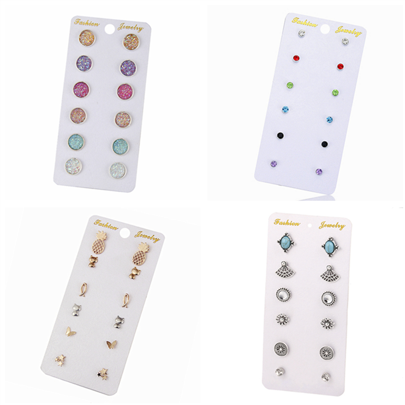 H22 Hot Sale Crystal Pearl Earring Set 6 Pairs/Set Mixed Stud Earrings For Women Vintage Earring Set Gift Wholesale Dropshipping цена 2017