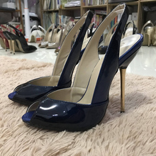 Women Stiletto Thin Iron High Heel Sandals Sexy Sling Back Peep Toe Black and Blue Patent Party Bridal Ball Lady Shoe 3845-g13