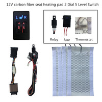 12 v car 4 carbon fiber heating pads heated seat heater with dual 5 dial swtich work driver and passenger fit for BMW heater