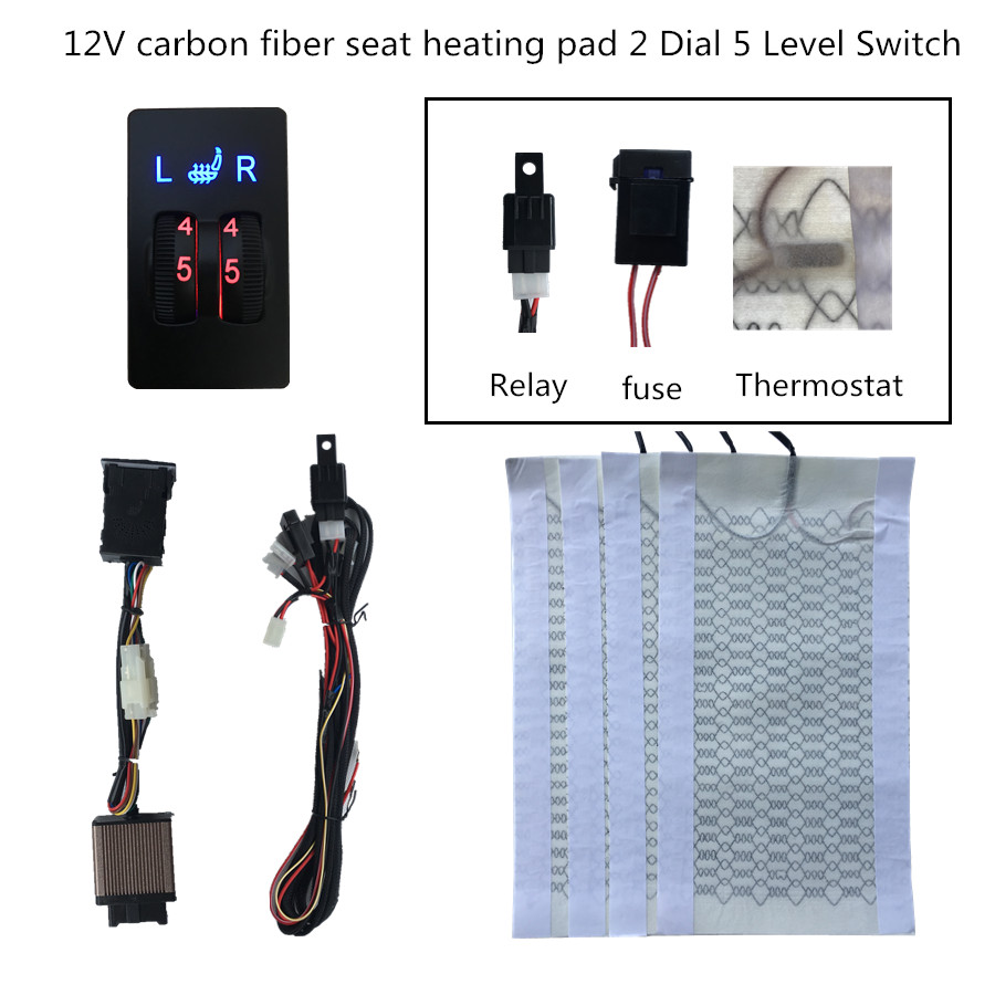 2 Seats installation Universal Carbo n Fiber Heated Seat Heater 12 V Pads 2 Dial 5 Level Switch Winter Warmer Seat Covers