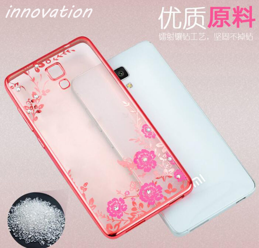 Innovation Flora Bling Diamond Case For Coque Xiaomi Mi4 Crystal Soft TPU Cover For Xiaomi Mi4 M4 Mi 4 Ring Stand Plating Cases