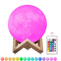 Remote Control 3D Print Moon Lamp Rechargeable USB 16 Colors Change Night Light Toilet Light Brightness Adjust Decoration Lamp
