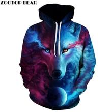 Hot Sale Brand Wolf Printed Hoodies Men 3D Sweatshirt Quality Plus size Pullover Novelty 6XL Streetwear Male Hooded Jacket