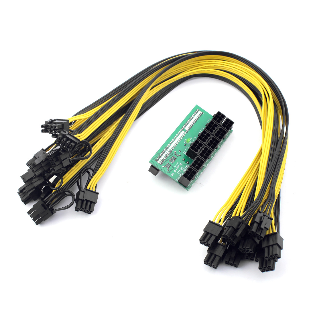 Mining Power Supply Kit - 10x 6Pin Port Breakout Adapter Board with 10pcs 50CM UL 1007 18AWG 6Pin Male to 6Pin Male Cable F21760