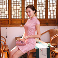 New Summer Qipao Chinese Traditional Dress Pink  Cheongsams Short Sleeve Lace Qipao Dresses Mujere Vestido Party Dress Styles