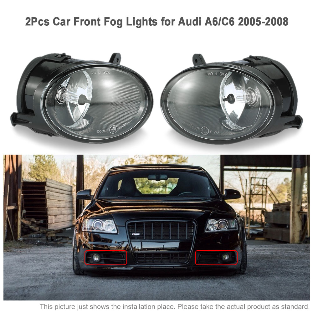 KKmoon for Audi A6 C6 One Pair of Car Front Fog Lights LED Lamp 2005 2006 2007 2008 4F0941700 car styling for audi a6 c6 4f 2004 2005 2006 2007 2008 6 leds drl led daytime running lights car fog cover bumper light