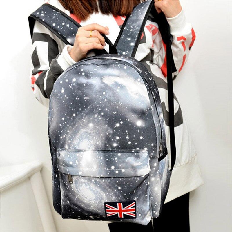 Casual Backpacks Shoulder-Bag New-Style Women Zipper Starry-Sky Printing Korean