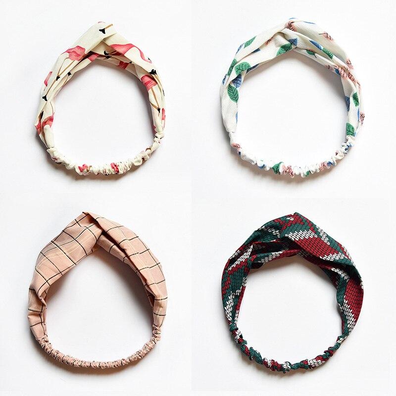 2018 New Fashion Elegant Print Cross Knot Headbands Turban Elastic Hairbands Head Wrap Hair Accessories for Women Girls   Headwear