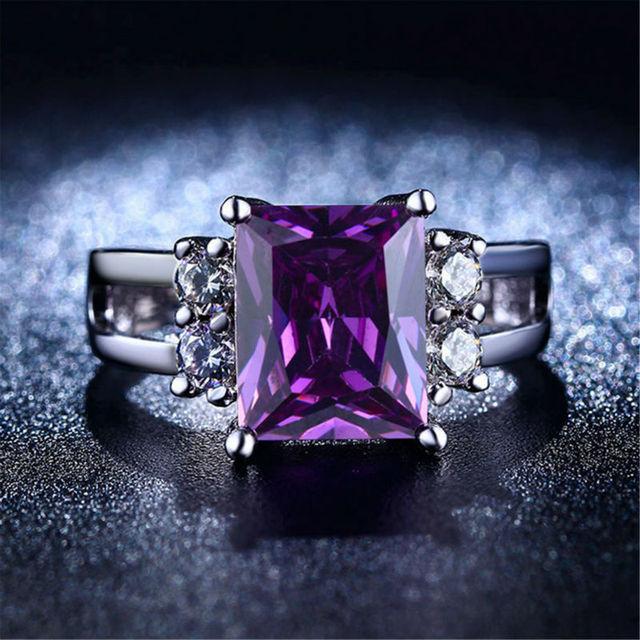 Moda Amethyst púrpura grande Rectangular de piedra Anillos de Plata Para Las Mujeres oro blanco plateado bague anillos de la joyería femenina alianza L313